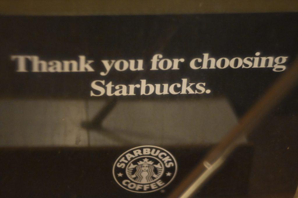 Thank you choosing for Starbucks. / スターバックスをお選びいただきありがとうございます. Google翻訳は,どんどん精度が上がってきて嬉しい.