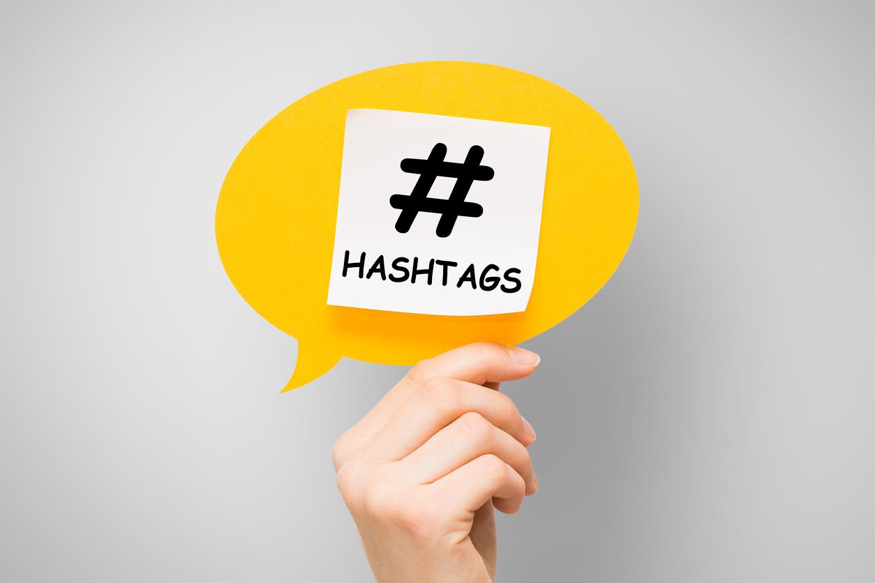 Hashtag post viral web network media tag business.