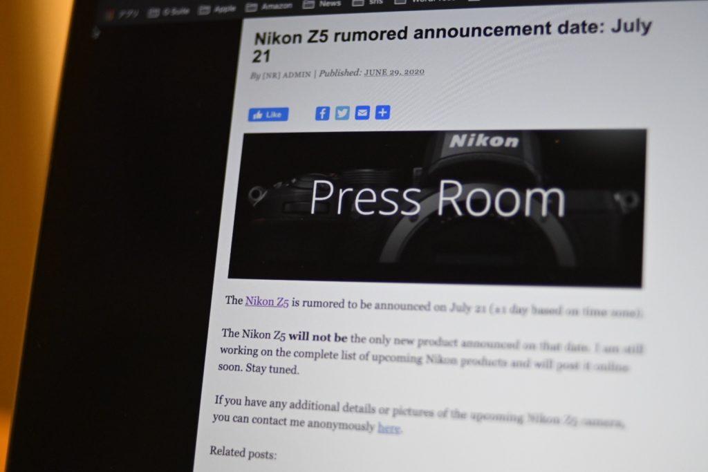 Nikonから何かしらの発表がありそう(7月21日)という噂が,少し前からネットで出はじめている.