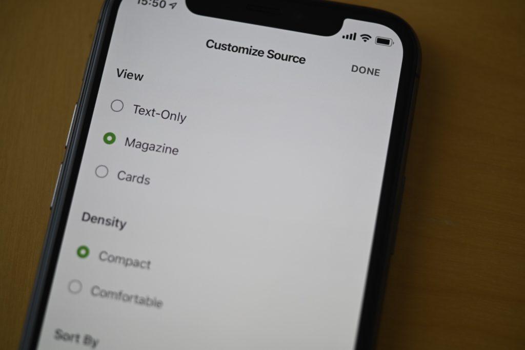 iPhoneの場合「Text-Only」「Magazine」「Cards」の3種類からViewを選ぶことができる.