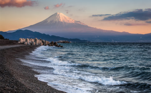 Mt. Fuji and sea beach in winter morning.