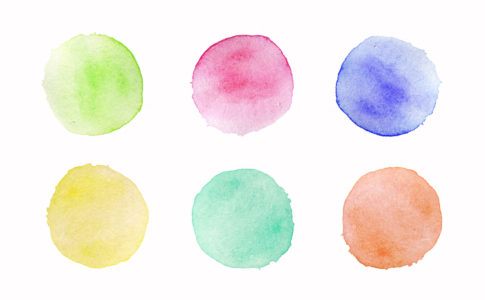 Hand painted colorful watercolor circles set on white background