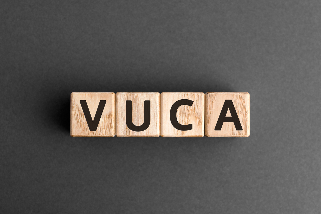 VUCA - acronym from wooden blocks with letters
