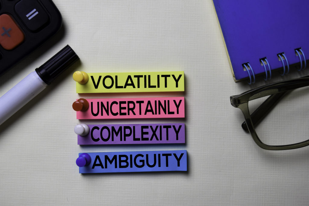 Volatility Uncertainly Complexity Ambiguity - VUCA text on sticky notes isolated on office desk