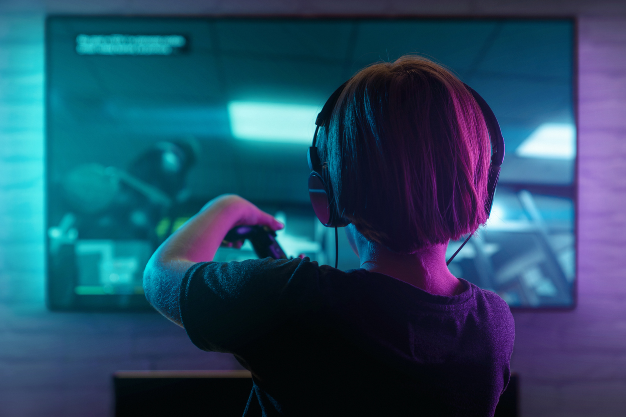 Little boy playing video game