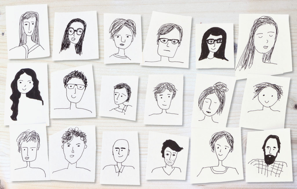 drawings of faces on white