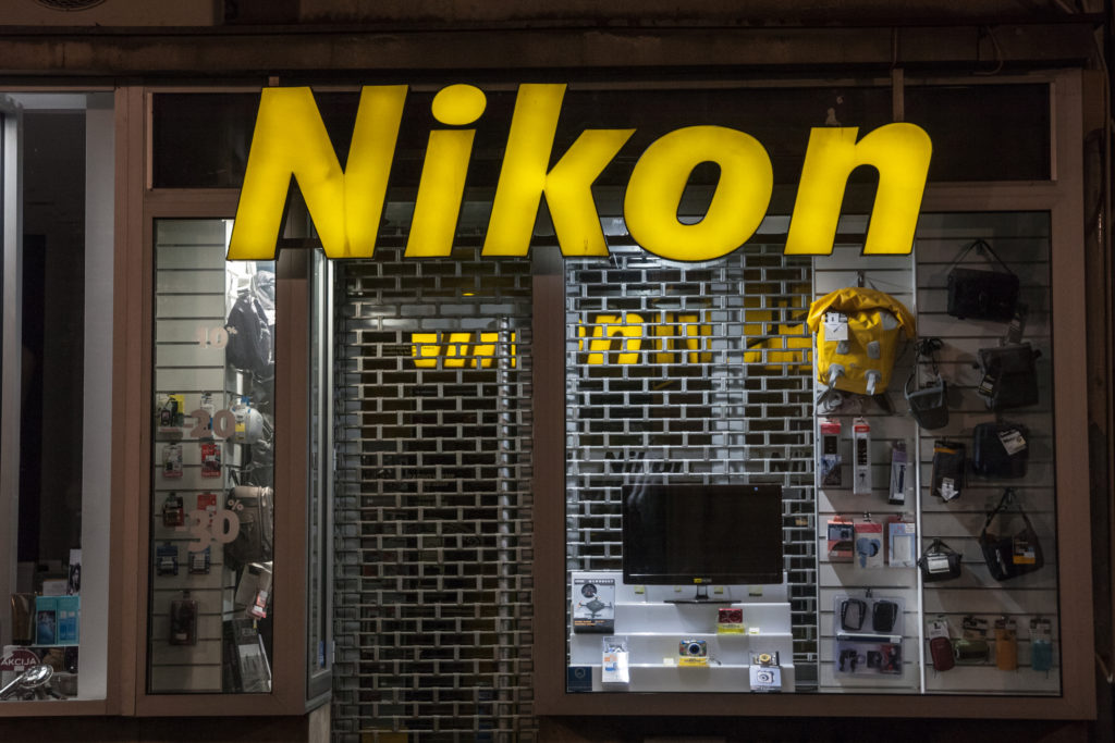 Nikon Logo on their main shop in Belgrade. Nikon Corporation is a major photography and optics japanese company spread worldwide.