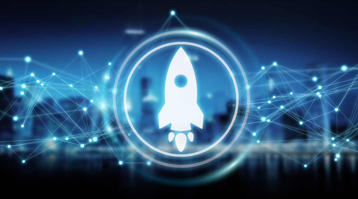 Startup rocket digital interface isolated on blue background 3D rendering