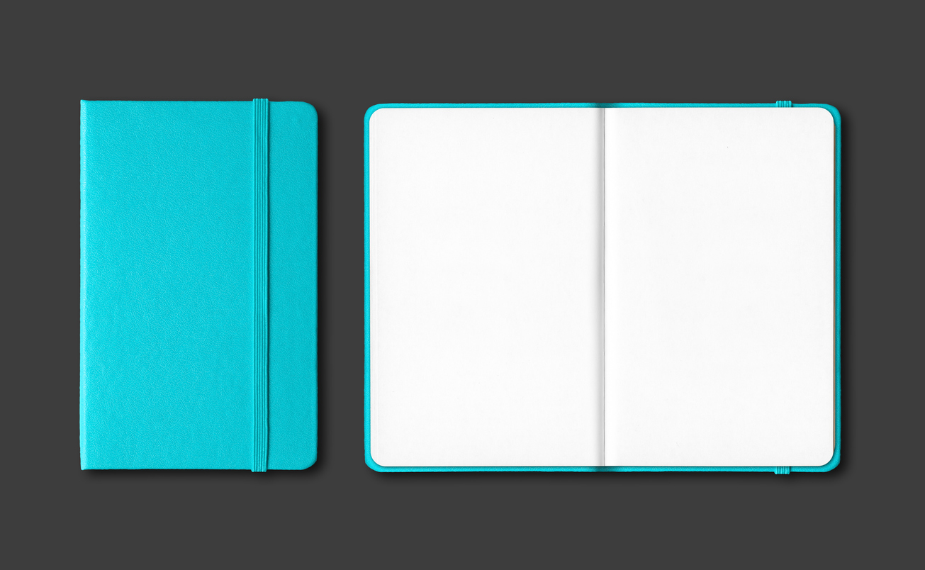 Aqua blue closed and open notebooks isolated on black