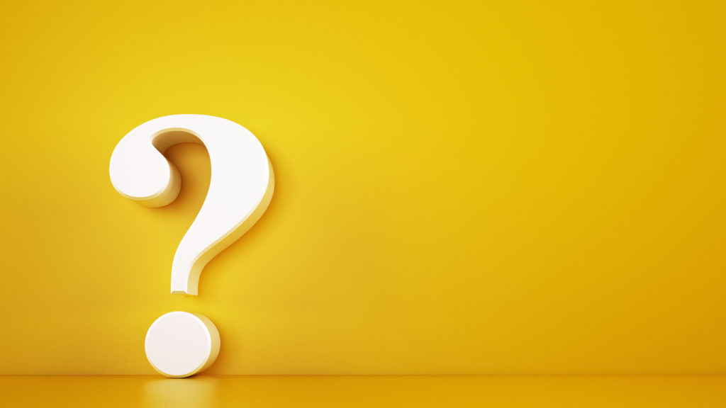 3D question mark on a yellow background. Rendering