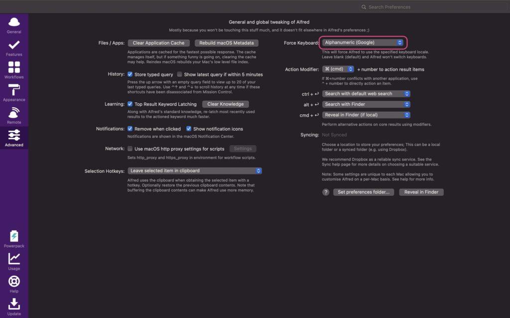 「Focus Keyboard」の欄を,英数の入力モードに指定する.