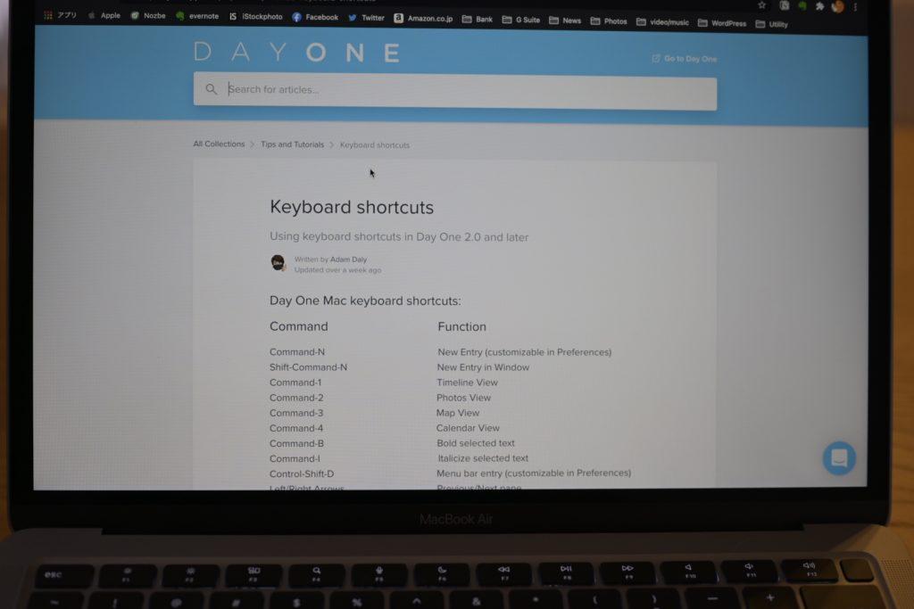 DayOne はショートカットキーが充実. 使いこなすとライフログが楽しくなる.