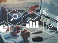 financial charts, business analytics and intelligence concept