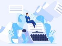 Author writing a book, tiny man sitting on huge typewriter, vector illustration