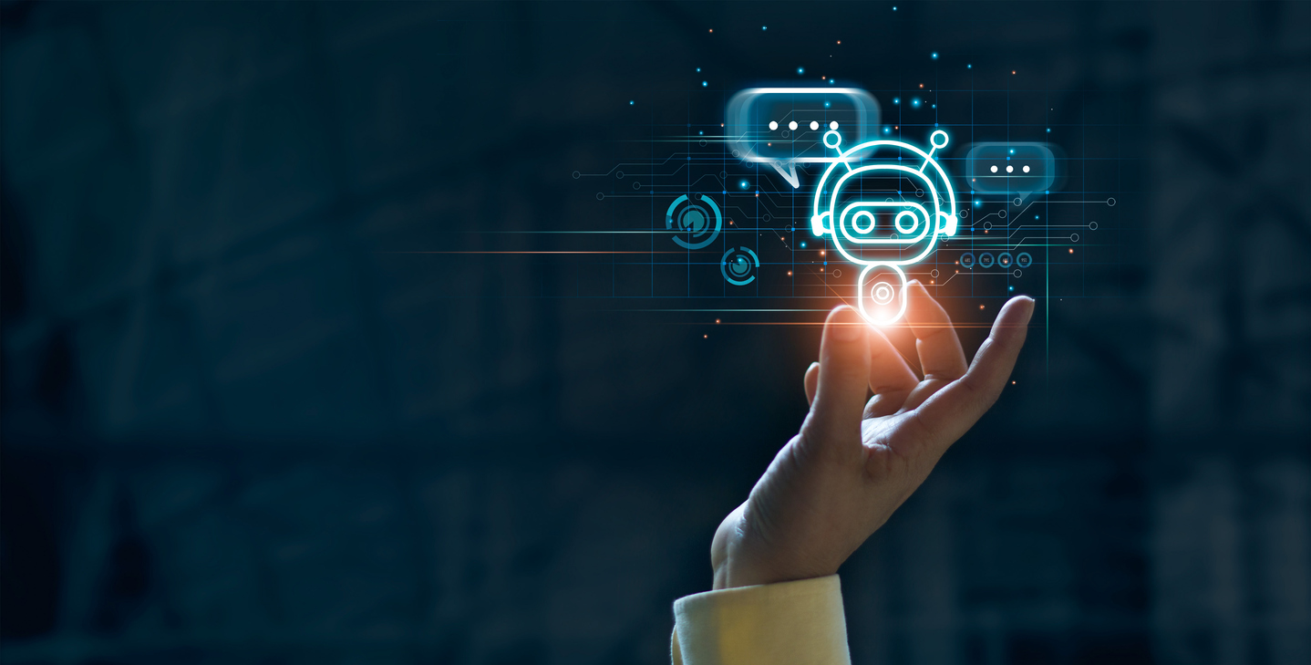 Hand touching digital chat bot for provide access to information and data in online network, robot application and global connection, AI, Artificial intelligence, innovation and technology.