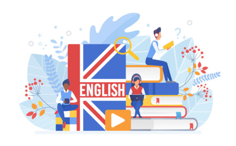 People learning English isometric vector illustration. Distance education, online learning concept. Students reading books 3d cartoon characters. Using hi-tech gadgets for teaching foreign languages.