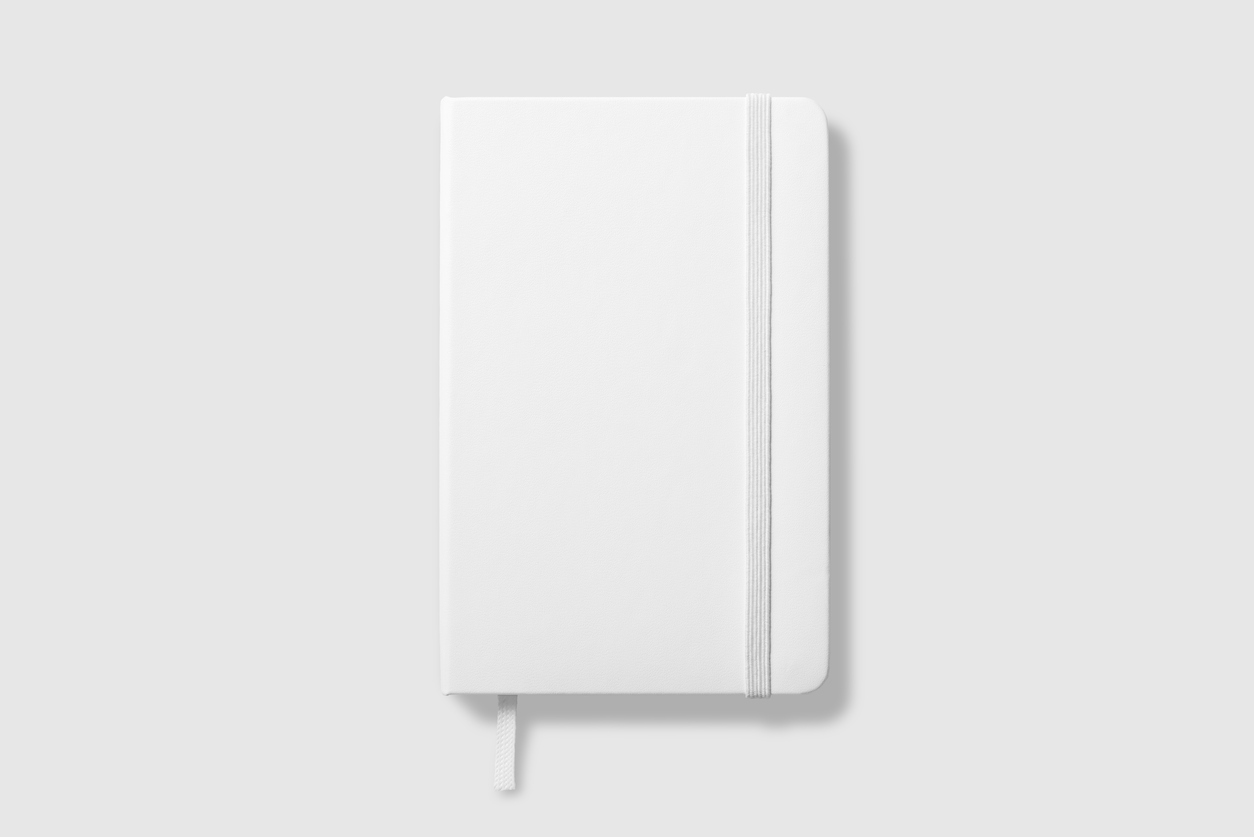 Top view of Blank photorealistic notebook mockup on light grey background.