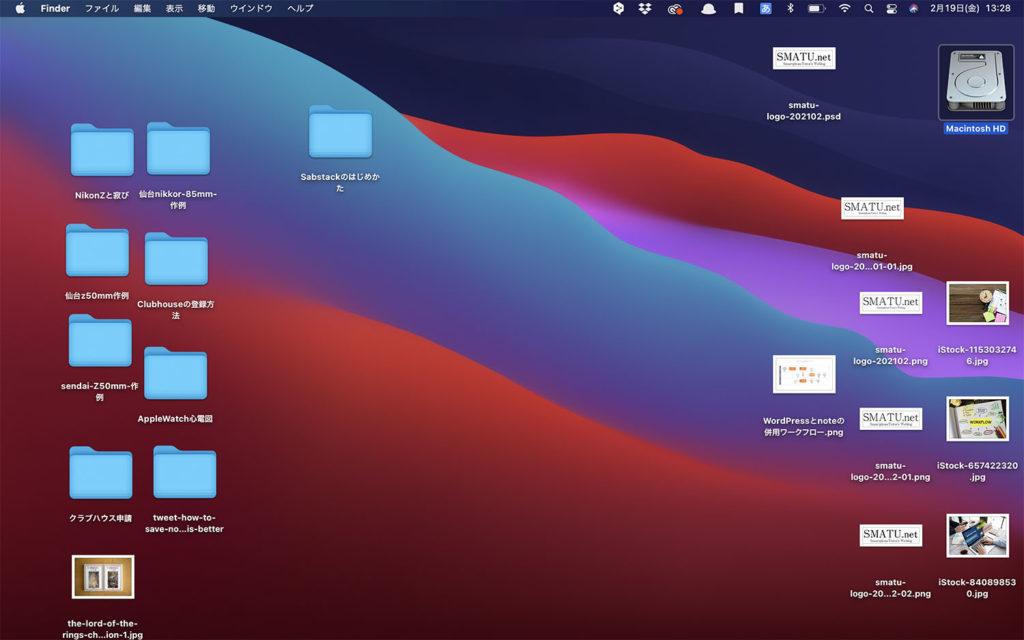Macで作業していると,突如デスクトップのアイコンがこのサイズに. なんだこれは.