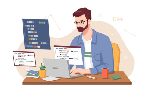 Male personage concentrated at working project, isolated man coding and programming looking at monitor. Screen with codes, developer at work with task. Cartoon character, vector in flat style