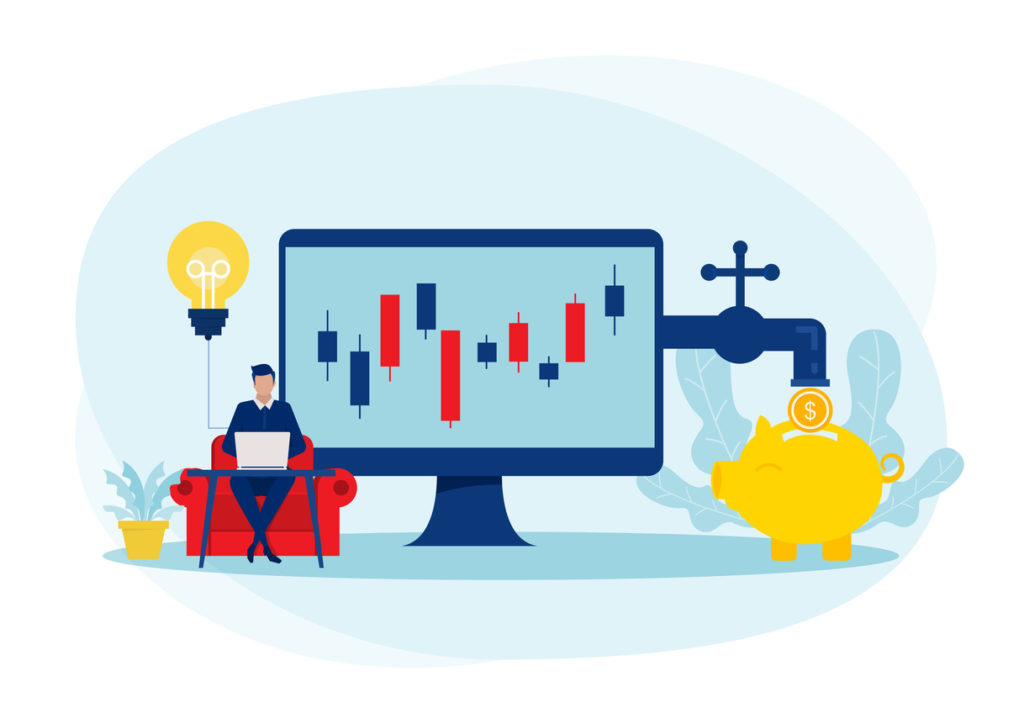 Businessmen invest stock market with arrow grow up income profit  Passive Income concept vector, illustrations.