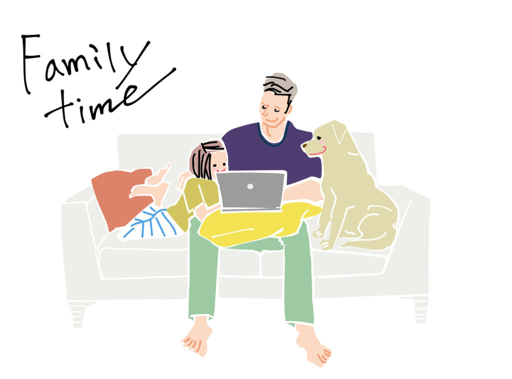 Family gathering, working from home