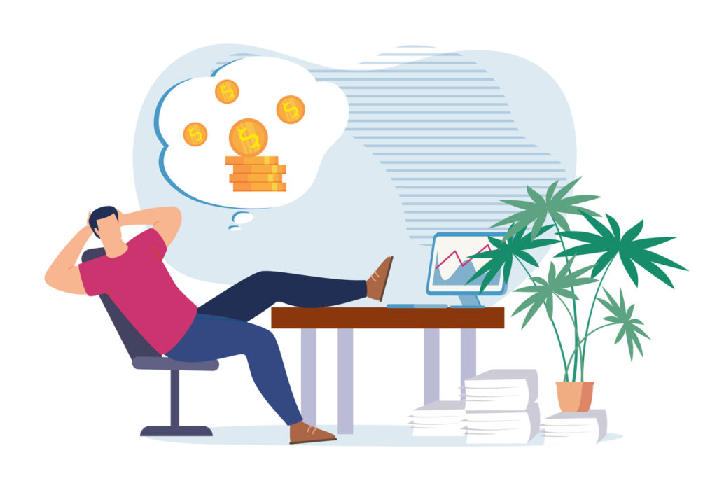 Lazy Cartoon Office Worker Procrastinating at Work Place and Dreaming about Money, Revenue Growth, Passive Income, Profit Increase, Wealth. Business Investments, Stock Market. Flat Vector Illustration