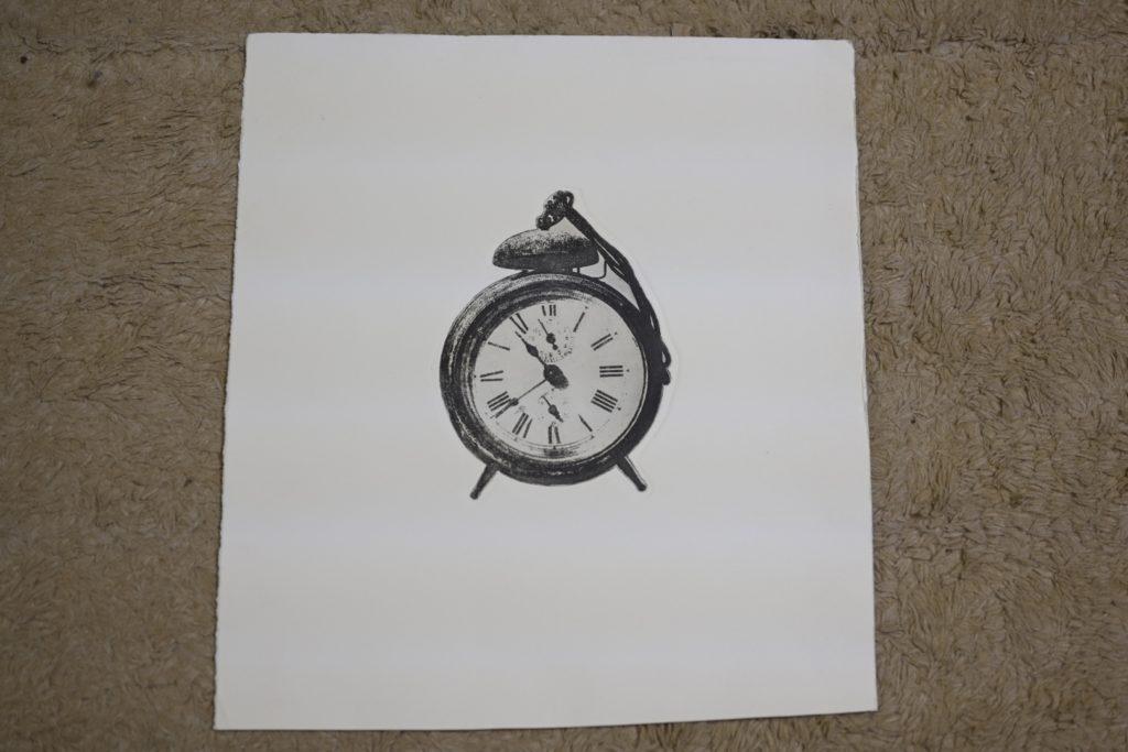 銅版画で時計のモチーフを紙に印刷-1