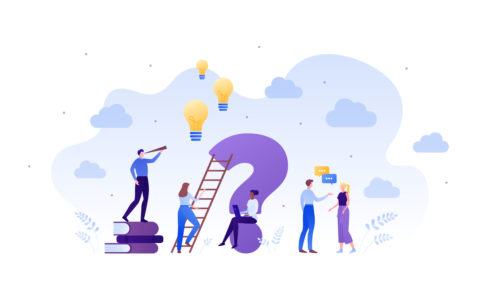 Business faq and education concept. Vector flat person illustration. Group of male and female people with idea light bubble sign, book, ladder and laptop. Design element for banner, poster, background