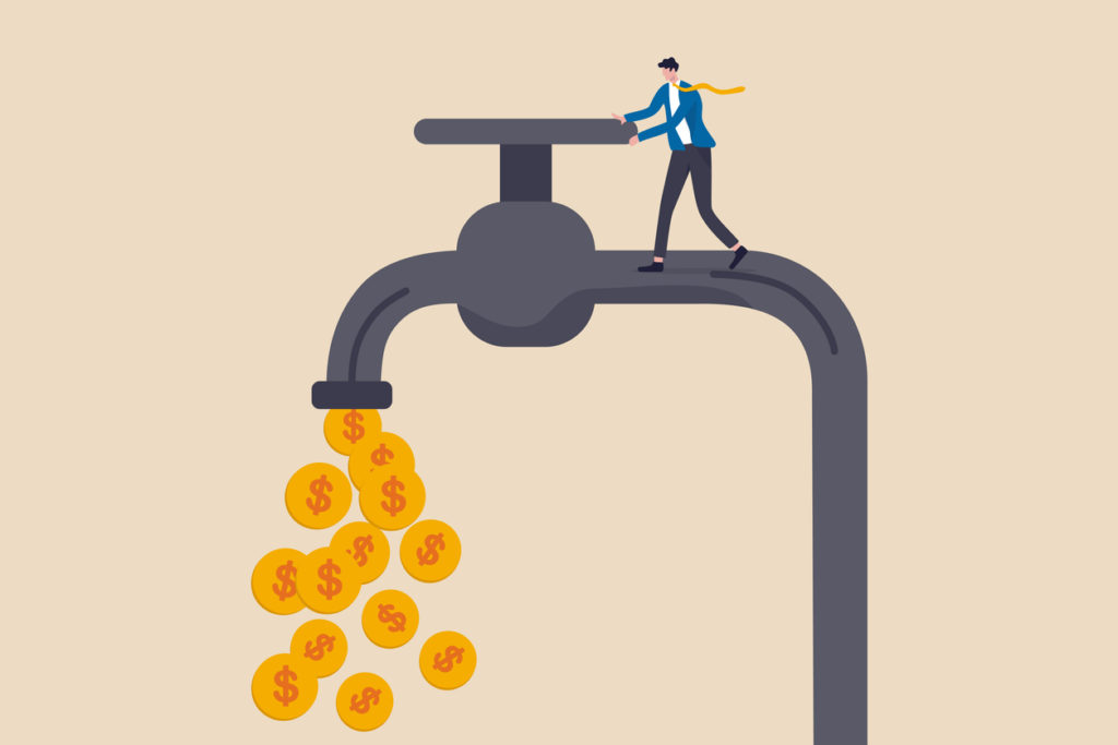 Cash flow, making profit from business or earning from stock investment concept, wealthy businessman business owner or investor opening water tap to let gold dollar coins money flowing out.
