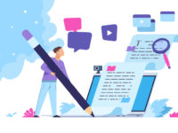Content writer. Blog articles creation concept with people characters, freelance work business and marketing. Vector illustration