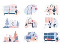 Everyday life of modern woman. Flat vector illustration