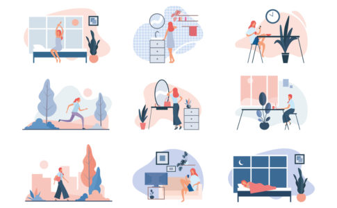 Everyday life of modern woman. Flat vector illustration