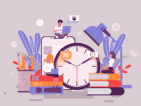 Flat web page design template of time management homepage or header decorated people character