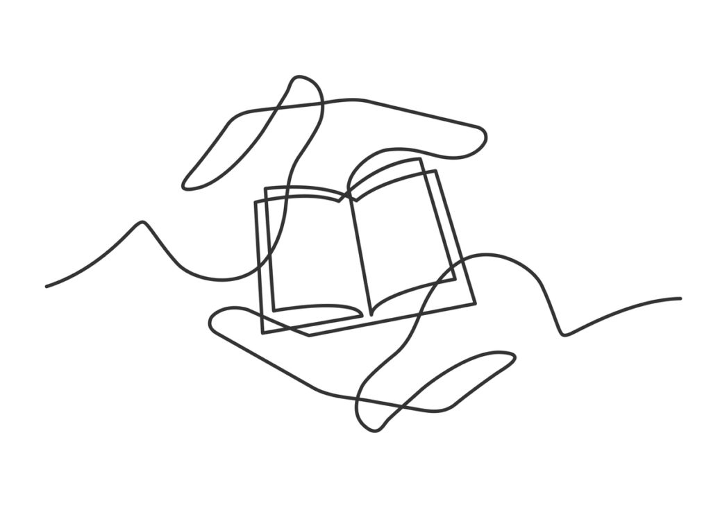 Continuous line drawing of open book in hands. Book between two  human hands meaning care and love.  Vector illustration