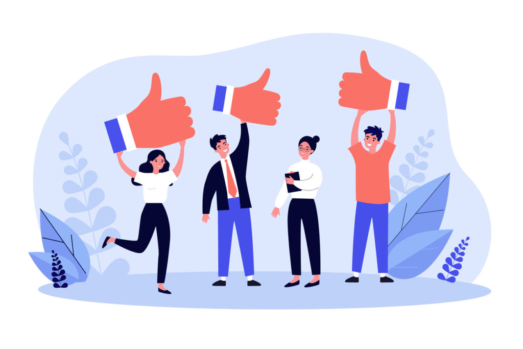 Happy clients giving positive feedback to product quality. Customers showing like, giving support to top service. Vector illustration for rating, survey, marketing, business success concept