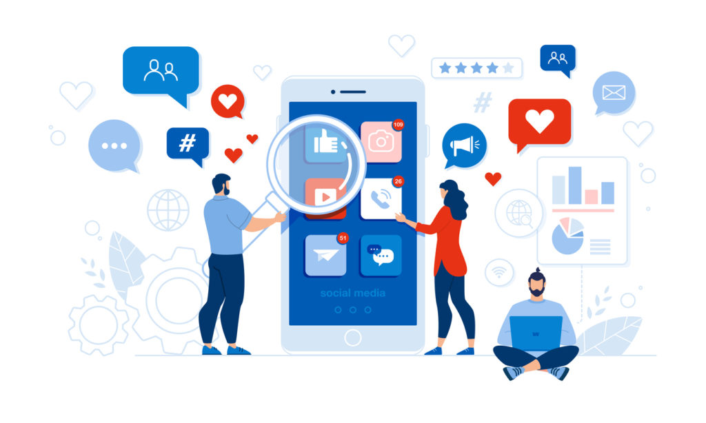 People and Comprehensive Mobile Application Social Media Audit. Man with Magnifying Glass and Woman Checking App Design, Usability. Guy at Laptop Conducting Code Analysis Security. Vector Illustration