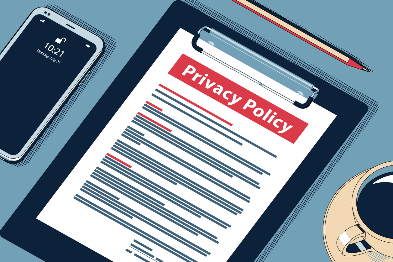 Privacy Policy - Beauteous Vector Halftone Isometric Illustration.