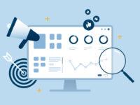SEO analytics optimization desktop dashboard blue flat design.