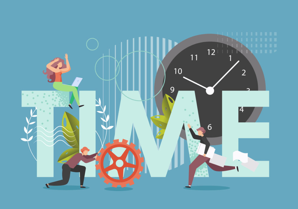 Time in capital letters, huge clock, male and female characters with cogwheel, documents, vector flat style design illustration. Time management, productivity, deadline.