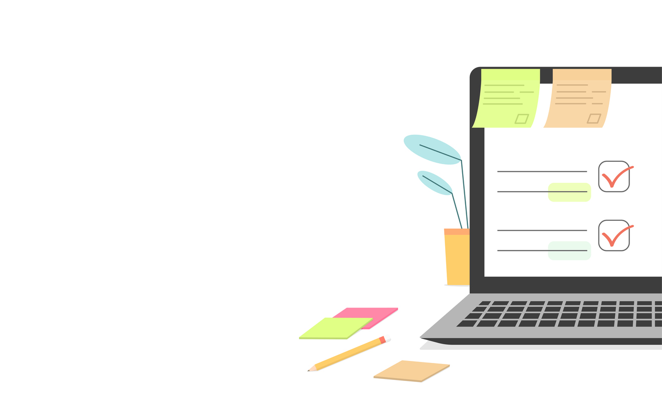 Checklist document in laptop and working desk vector. Cartoon computer with checkmarks