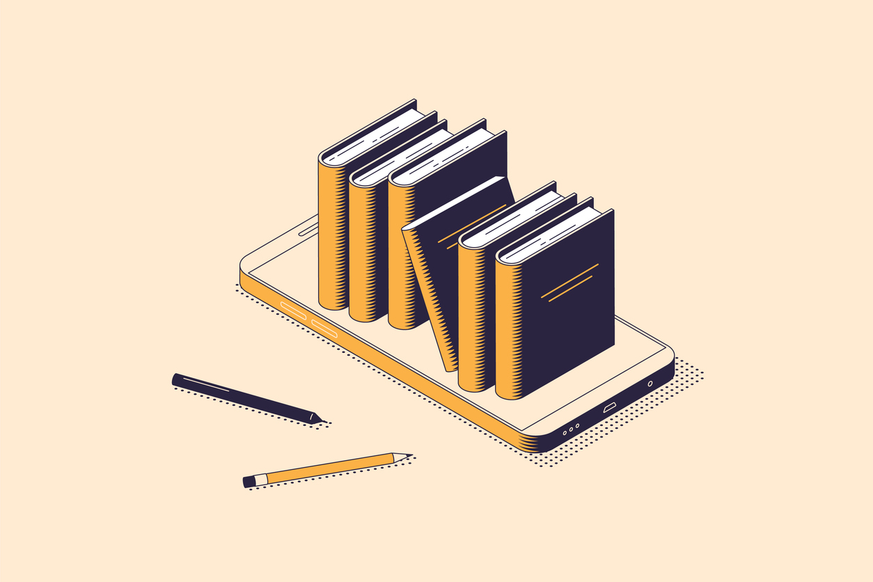Online reading or electronic book store isometric concept with stack of books standing on smartphone screen.