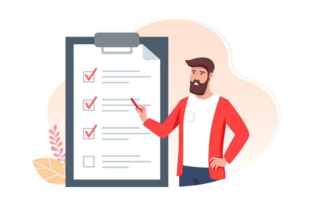 To-do list banner design, man holds a pencil and notes completed tasks on time. Time management concept. Vector illustration in a flat cartoon style.
