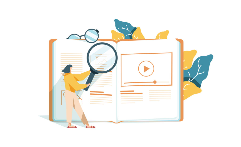 vector color illustration, distance learning, online courses or education, online books and textbooks, exam preparation, home schooling,business online. Correct errors Proofreader checks transcription