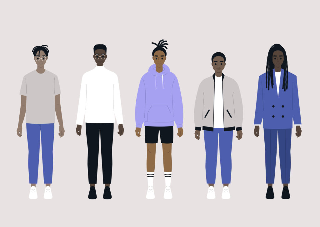 A set of young black male characters wearing different outfits: sport, casual and business