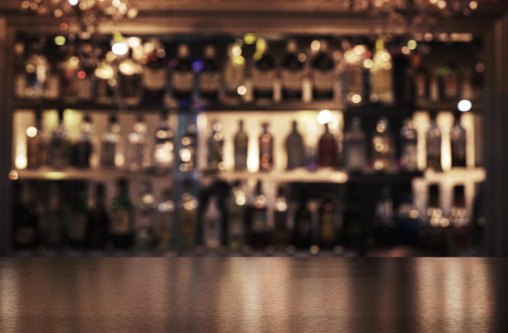 Empty wooden bar counter