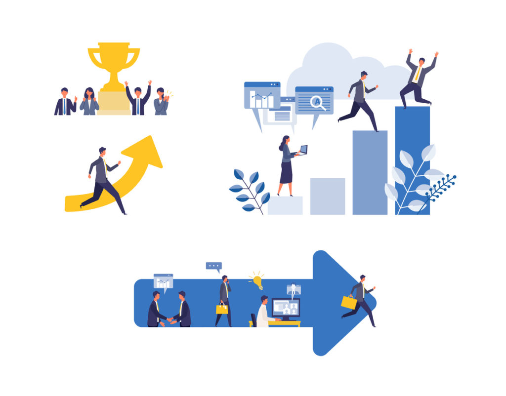 Metaphor of business process, accomplish, strategy. Flat design vector illustration of business people.