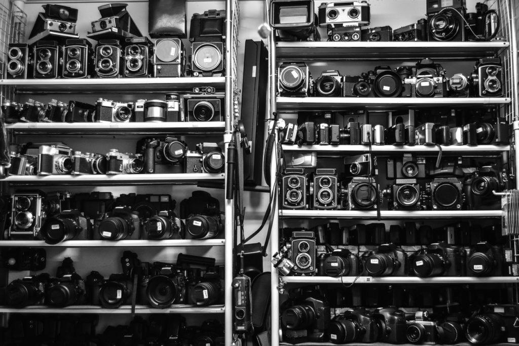 Cámaras de foto antiguas de segunda mano, Tokio. Japan