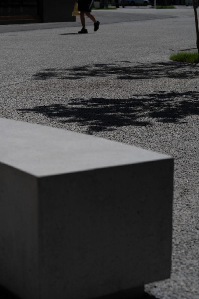 木の陰と石のベンチ